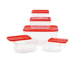 buy all time plastics polka container set 5 pieces red online at
