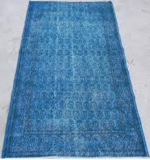 Vintage Overdyed Turkish Rugs 3 9x6 7 Ft 115x200 Cm Royal Blue Color Overdyed Vintage Turkish