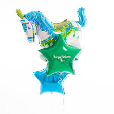 personalised birthday balloons personalised blue carousel birthday balloons by bubblegum