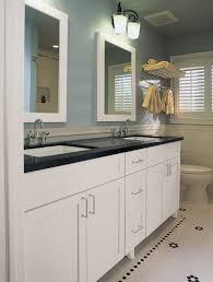 two tones undermount double trough sink for light blue bathroom