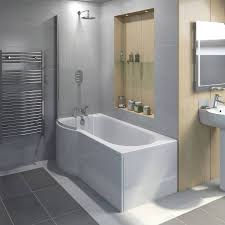 orchard p shaped left handed shower bath 1500mm with 6mm shower evesham 1500 x 800 lh screen