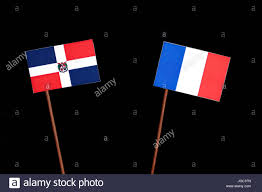 Dominican Republic Flag History Dominican Republic Flag With French Flag Isolated On Black