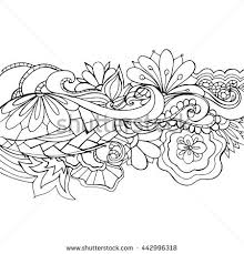 banner coloring pages boho flower pattern template background decoration stock vector
