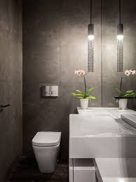 contemporary powder room decor with white modern water closet with