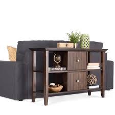 Sofa Console Tables by Simpli Home Acadian Dark Tobacco Brown Storage Console Table
