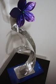 wilmos kovacs metal art modern table sculpture abstract flower