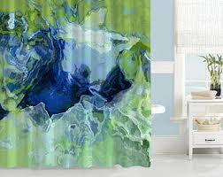 Blue And Green Shower Curtains Blue Shower Curtain Etsy