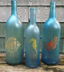 beach themed glitter painted wine bottle decoration set of 3 by