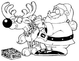santa decorates reindeer coloring free printable coloring pages