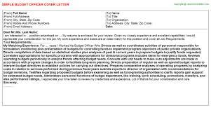 budget officer cover letter