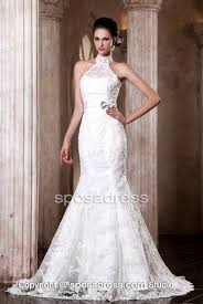 fascinating high neck mermaid lace sweep train wedding dress