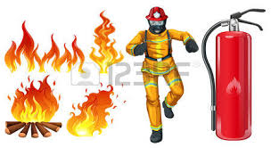 fireman fire extinguisher white background royalty