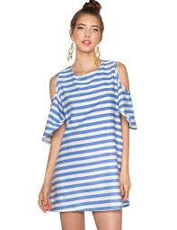 dress striped dress babydoll dress cold shoulder dress summer