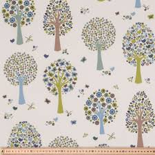 tree printed uncoated fabric