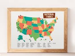 National Parks Map Usa by National Parks National Parks Print Kids Room Decor Usa