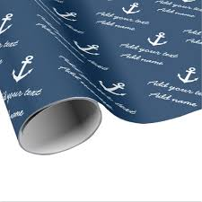 anchor wrapping paper personalized nautical navy anchor wrapping paper zazzle