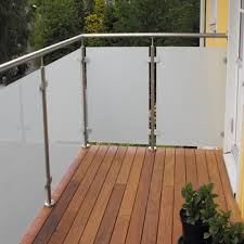 External Handrails External Frosted Tempered Glass Steel Railing Designs For Front