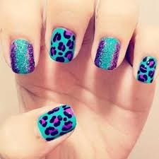 Blue Leopard Print Purple And Blue Leopard Print Nail Art