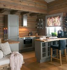 Cozy Cabin Kitchen Love The Gray Cabinets Against All The Wood - Cabin kitchen cabinets