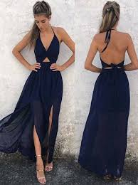 navy blue dress buy a line halter backless navy blue chiffon prom dress special
