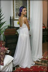 Wedding Sleepwear Bride White Lace And Nylon Nightgown Camille Innocence Nightgown
