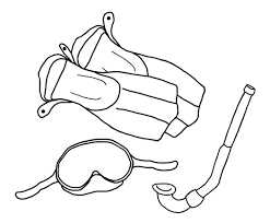 7 images of snorkel and scuba mask coloring page scuba mask