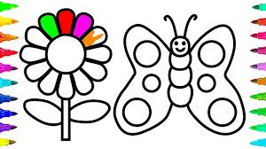 how to draw and color flower and butterfly for kids learn colors