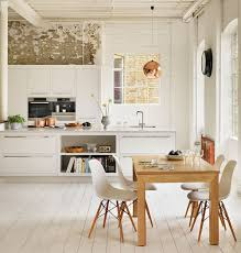 White Kitchen Island Scandinavian Kitchen With Exposed Brick Wall Containing White
