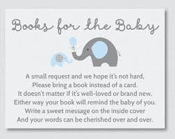 bring a book instead of a card poem elephant baby shower bring a book instead of a card invitation