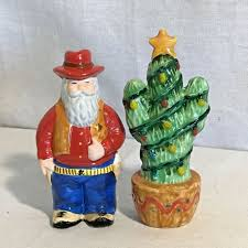 vintage cowboy santa claus w christmas cactus salt pepper shakers