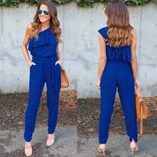 s one jumpsuit s solid one shoulder ruffle jumpsuit with belt