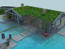 3d model house with swimming pool in the style of minimalism