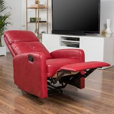 Red Furniture Living Room Amazon Com Teyana Red Leather Recliner Club Chair Kitchen U0026 Dining
