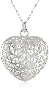 heart shaped necklace images Sterling silver filigree puffed heart pendant necklace jpg