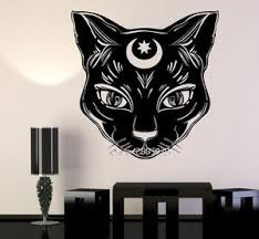 black cat moon vinyl wall sticker the official strange creepy store