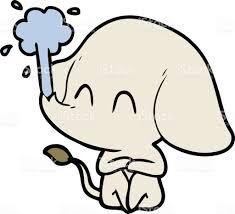 cute cartoon elephant spouting water stock vector art 827341598
