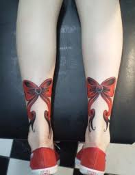 ribbon bow tattoo designs for women on leg bow tattoo
