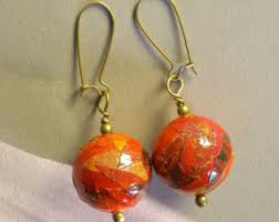 paper mache earrings handmade jade green paper mache earrings with bronze colored