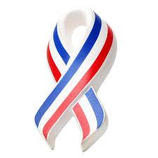 white and blue ribbon patriotic stress balls custom printed