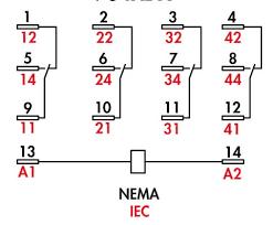 item 784xdxm4l 24d 784 ice cube relays 4pdt 15 amp rating on