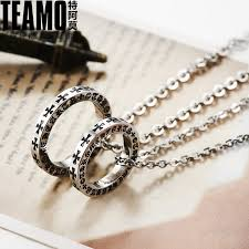 titanium jewelry necklace images Teamo his and hers necklaces black iron cross engraved circle jpg