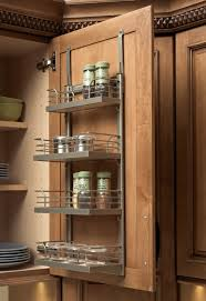 Kitchen Cabinet Door Spice Rack Silver Steel Spice Rack Wit Four Shelves And Bars On The Side