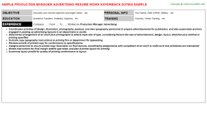 Sample Advertising Resume by Advertising Production Manager Cover Letter