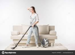 Vaccumming Woman Vacuuming Carpet U2014 Stock Photo Igortishenko 140180512