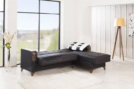 black sectional sofa bed sectional sofa in black leatherette by casamode