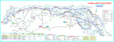 India River Map by Chambal Major Irrigation Project Madhya Pradesh Ji00778