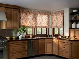 Pattern Roman Shade Kitchen Eye Catching Kitchen Roman Shade Combined With Wooden Wall