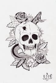 skull and snake sketch by svirid0va on deviantart