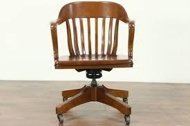 oak swivel vintage library or office desk chair adjule height tilt