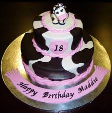 pink black and white cow birthday cake cakecentral com
